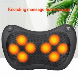 Electric Infrared Heating Kneading Neck Shoulder Back Body Spa Massage Pillow, Car Chair Shiatsu Massager - 8 Heads  2 Keys