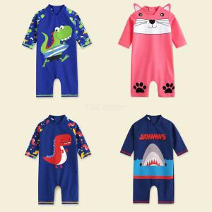 Baby Toddler One Piece Quick-drying Boy Swimsuit Short Sleeve Cartoon Swimwear For Kids Bathing Beach Swimming Summer Clothes