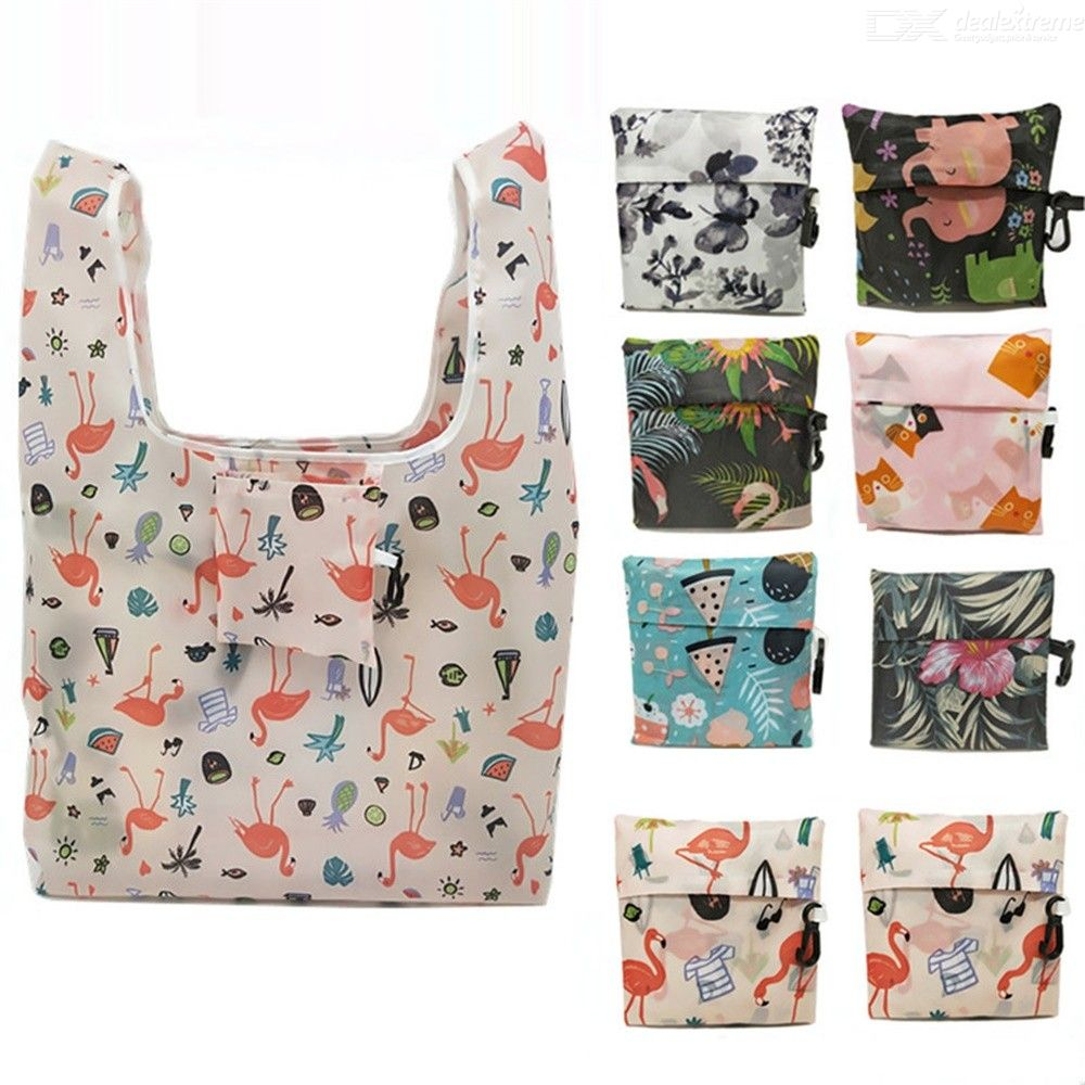 Portable Polyester Square Shopping Bag Foldable Reusable Storage Bags For Women