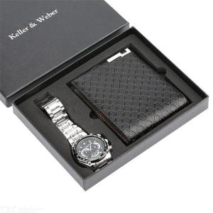 Mens Gift Set Quartz Watch + Wallet With Exquisite Gift Box