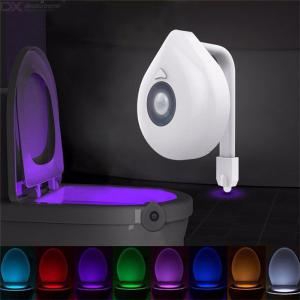 8 Colors LED Toilet Bowl Seat Night Light PIR Motion Sensor Bathroom Lamp For Children