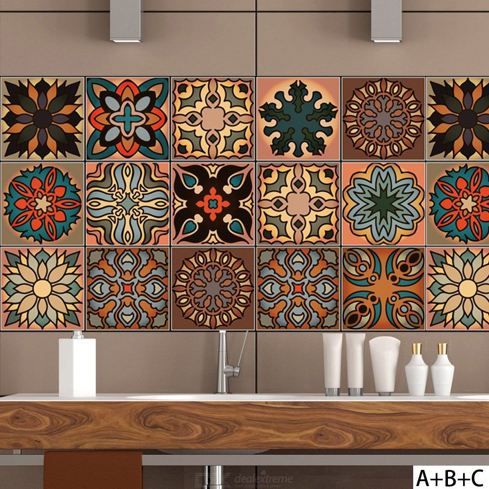 1Pc Creative Morocco Wall Sickers Colorful Pattern Decals Bedroom Living Room Floor Windows Decors - 1 X 0.2 M3.3 X 0.66 Ft