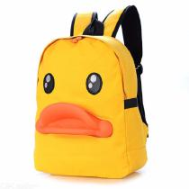 Lovely-3D-Duck-Mouth-Backpack-Cartoon-Canvas-Student-Bags-Travel-Bag-Yellow