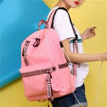 Unisex-Nylon-Student-Bag-Laptop-Backpack-Travel-Bags-With-USB-Charging-Port