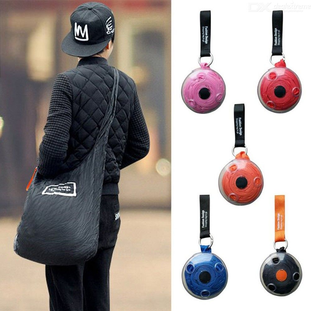 Creative Portable Mini Disc Shopping Bag Reusable Folding Tote Pouch With Carabiner For Women