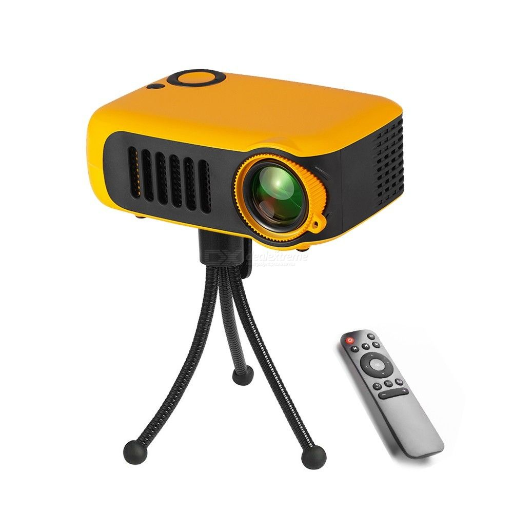 A2000 Mini Portable Projector, 800 Lumens 320240P Native Resolution Supported 1080P Home Theater Video Projector - EU Plug
