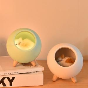 Creative Little Pet House Atmosphere Lamp Warm Cute Cat USB Charging Night Light Home Decor Bedside Sleeping Light