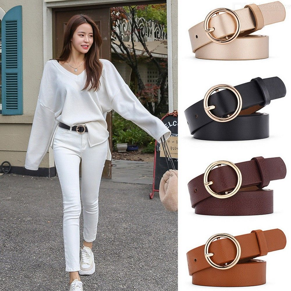 Round Buckle Waist Belt Casual Leather Belts For Women Girls