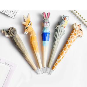 Creative Woodcarving Animal Gel Pen 3D Cartoon Writing Supplies For Office School