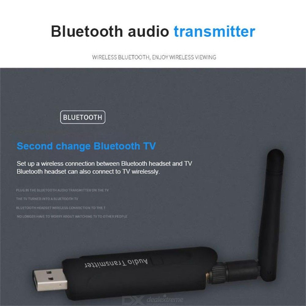 Portable USB Bluetooth Audio Transmitter Adapter Dongle For TV Desktop  Laptop, With 3 5mm Aux, Plug And Play - Black