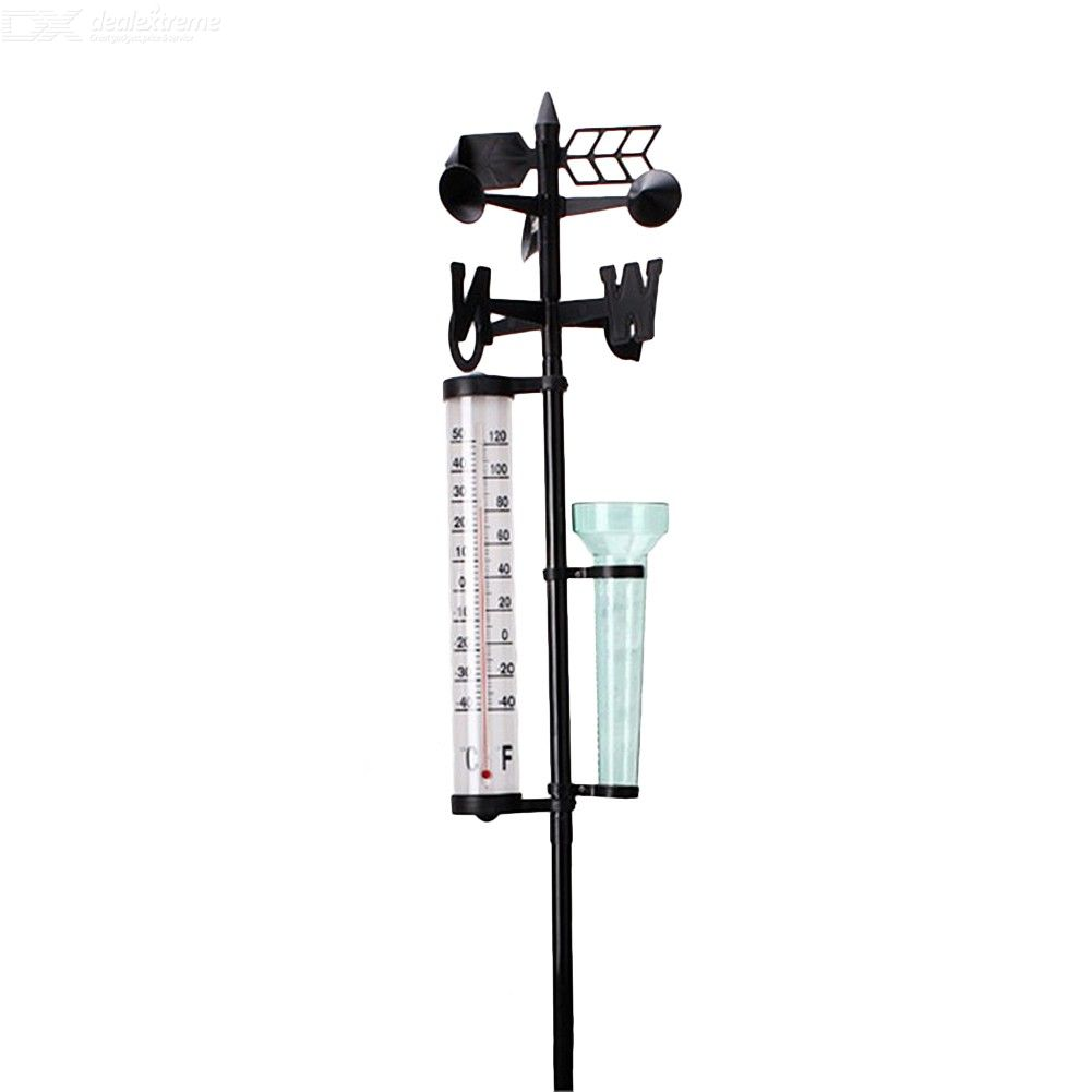 3 In 1 Weather Station Meteorological Measurer Practical Rain Gauge Wind Indicator Outdoor Thermometer For Garden Decoration