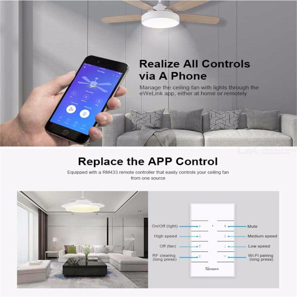 SONOFF IFan03 Wi-Fi Ceiling Fan And Light Controller Support A 433mhz RF  Remote Control By App Ewelink