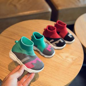 Kid's Booties Fashionable Breathable Color-contrasted Slip-on Walking Shoes For Baby Boys Girls Aged 1-3