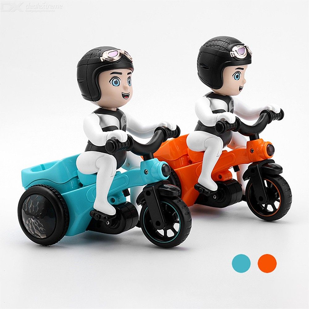 Electric Cartoon Stunt Rotation Tricycle Plastic Three Wheeler Toy With Light Effects For Kids