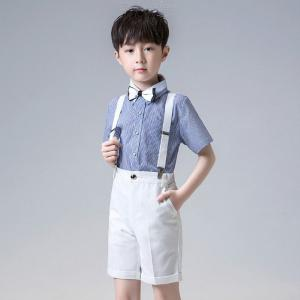 Boys Gentleman Outfits Suits, Short Sleeve Shirt With Bow Tie And Overalls Pants Set Outfit