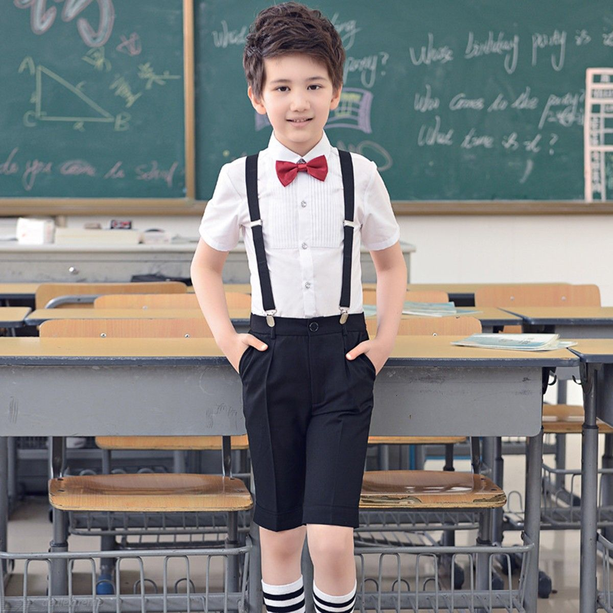 3e6eb162387dc Boys Gentleman Outfits Suits, Short Sleeve Shirt With Bow Tie And Overalls  Pants Uniform Pants For School Birthday More