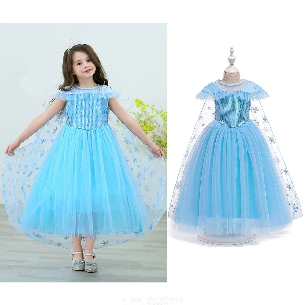 Girl's Formal Princess Dresses With Sequins Decoration Removable Tulle Mantle Halloween Cosplay Costume