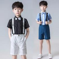 Boys-Gentleman-Outfits-Suits-Short-Sleeve-Shirt-With-Bow-Tie-And-Overalls-Pants-Set-Outfit
