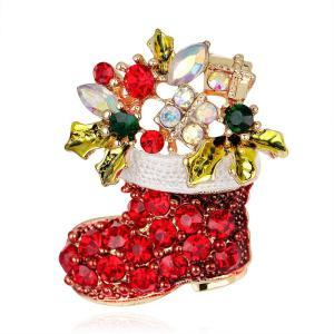 Fashionable Colored Christmas Boot Rhinestone Pleated Brooch Pin