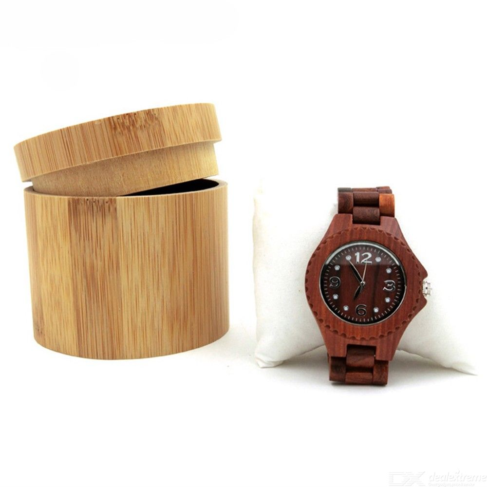 Creative Wooden Watch Box Cylindrical Bamboo Bracelet Jewelry Storage Case
