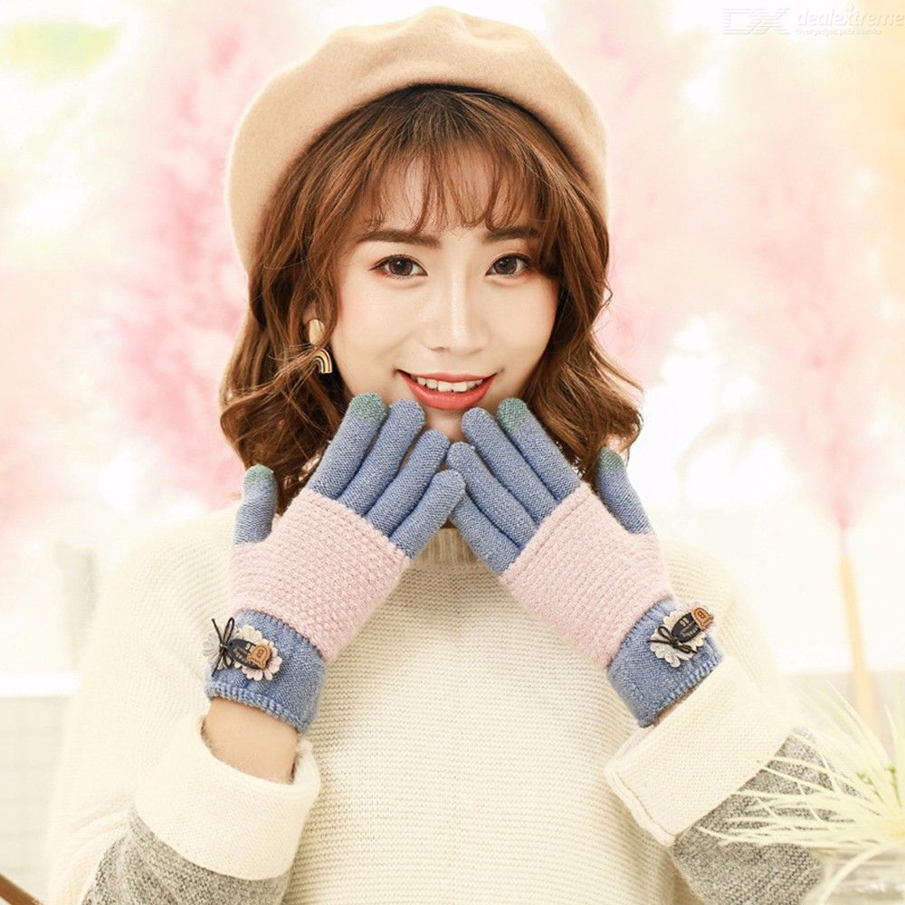 Cute Womens Two-tone Patchwork Knit Gloves, Dual-layer Cotton Winter Gloves For Women