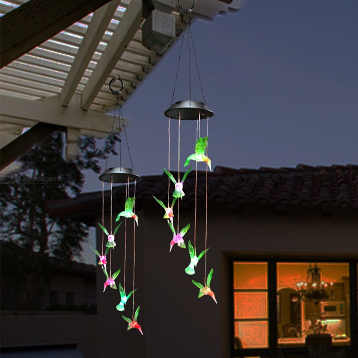 Color-Changing LED Wind Chime Lamp Hummingbird Solar Power Light For Home Party Garden Decoration