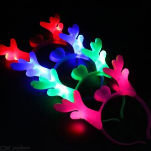 Luminous Christmas Elk Hairband For Girls, Soft Touch Light Up Chirstmas Hair Band Random Color