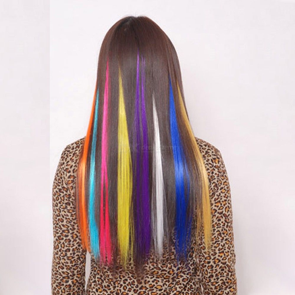 24 Color Optional High Temperature Fiber Hair Gradient Synthetic Straight Wigs
