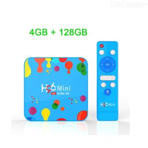 H96 Mini H6 Android 9.0 4K TV-box 4 GB RAM 128 GB EMMC 2.4G5G Dual Wifi Youtube Smart Media Player - Blå