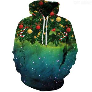 Men's Hoodies 3D Digital Star Christmas Tree Print Pullovers Long Sleeve Loose Hooded Sweatshirts