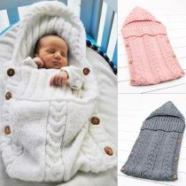 New-Born-Infant-Sleeping-Bags-Baby-Girls-Knitting-Blanket-Autumn-Baby-Blanket-Sleepers-Solid-Swaddling-75-*35cm