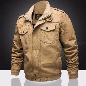 Men's Bomber Jackets Embroidery Army Military Uniform Casual Multi-Pocketed Tooling Flight Jacket
