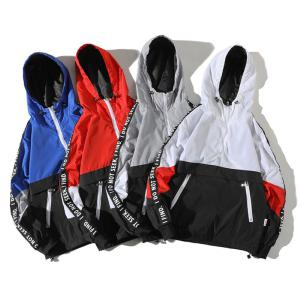Men Loose Style Fashion Stitching Zipper Coat Boys Casual Hooded Hiking Jackets With Pocket Outwear Windbreaker