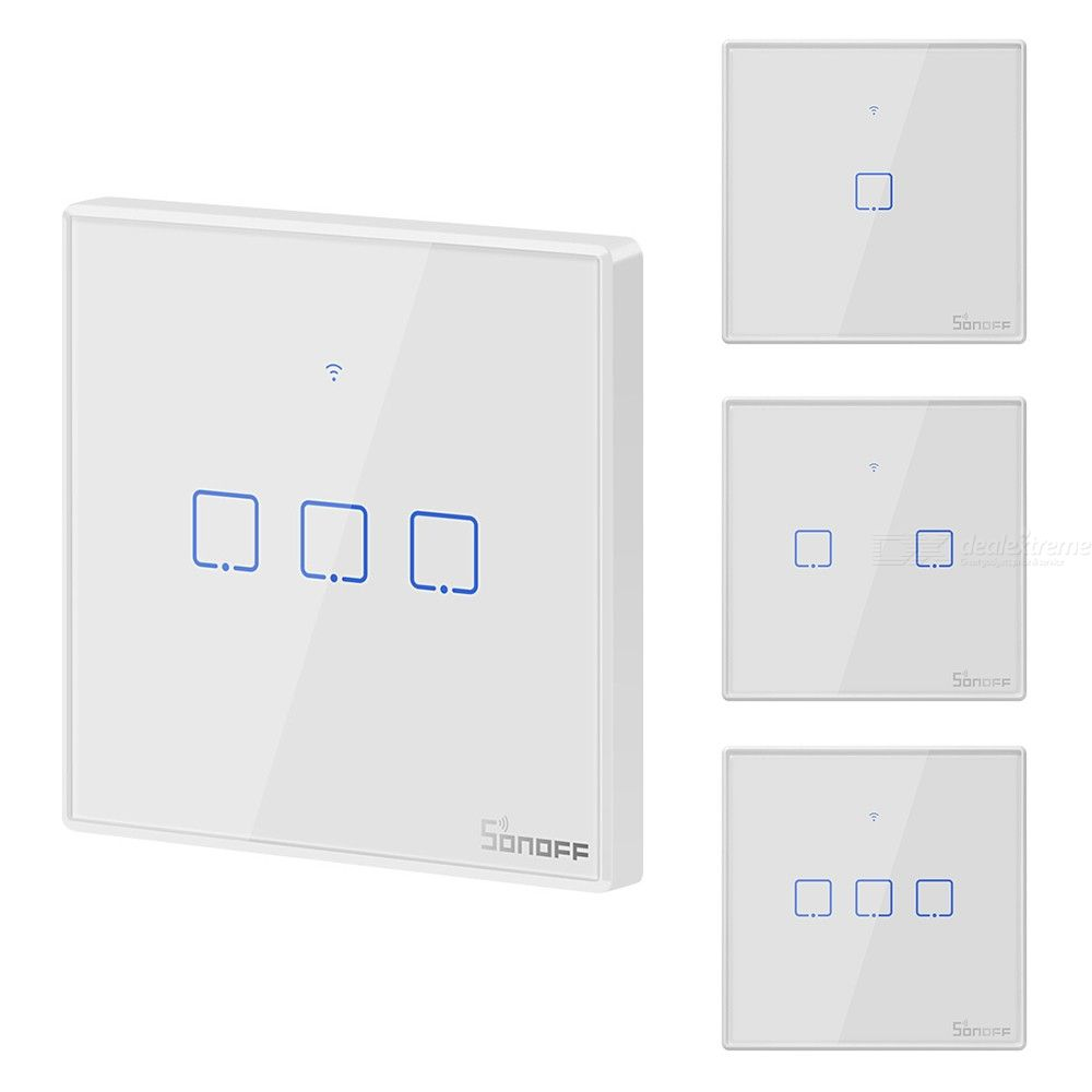 Sonoff T2EU 123 Gang WiFi Touch Switch, Wall LED Light Switch Panel Works With Alexa Google Home - EU Plug