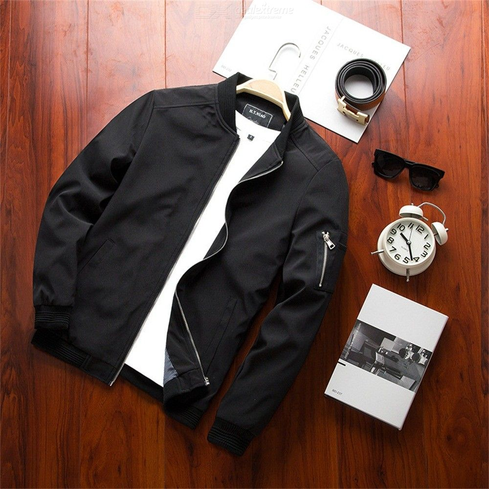 Spring And Autumn Men's Casual Jacket Windproof Coat Solid Color Thin Section Zipper Jacket