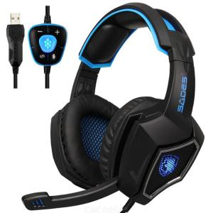 Spirit Wolf 7.1 Surround Stereo Sound USB Gaming Headset LED Over Ear Headphones with Mic Band, Noise Isolation for PC Laptop