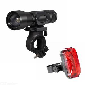 T6 Bright Bicycle Front LED Light Waterproof Bike Headlight Cycling Zooming Flashlight with Alarm Security Tail Light - Black