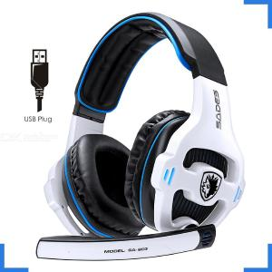 Professional Stereo 7.1 Surround USB Gaming Headphone Wired Headset with Mic Headband White  Red