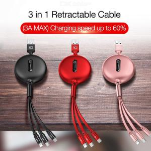 3 In 1 Retractable USB Charger Cable 3A Fast Charing Multi Charger Cord With Lightning  Type C  Micro USB - 1.2m