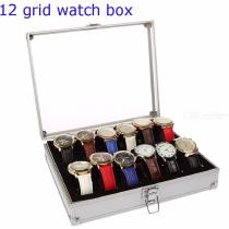12-Slots-Grid-Acrylic-Lid-Aluminium-Watch-Jewelry-Display-Box-Storage-Case-Organizer