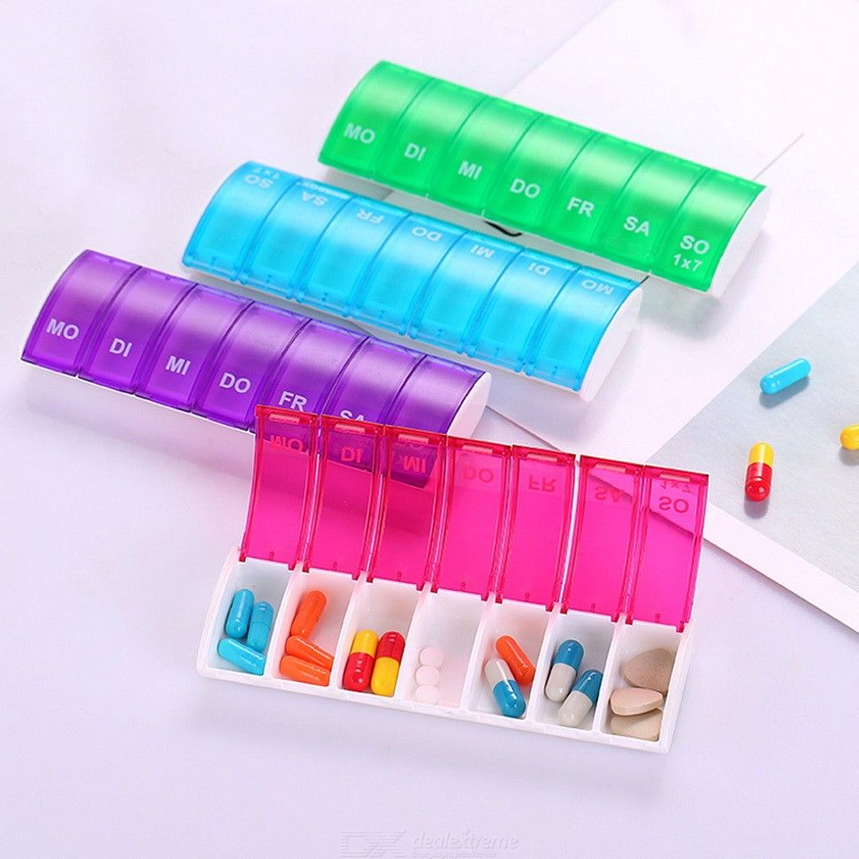 Portable Weekly 7-Day Pills Organizer Pill Case Plastic Box Medicine Storage Boxes For Outdoor Travel