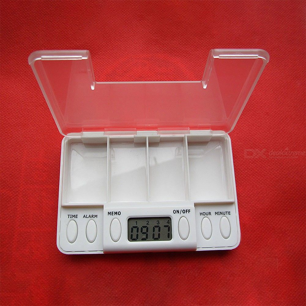 4 Grid Intelligent Plastic Pill Storage Box Electronic Timing Reminder Medicine Container For Home Travel