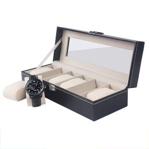 High-End 6 Slots PU Leather Clear Lid Watch Display Box Storage Case Organizer For Men And Women Gift