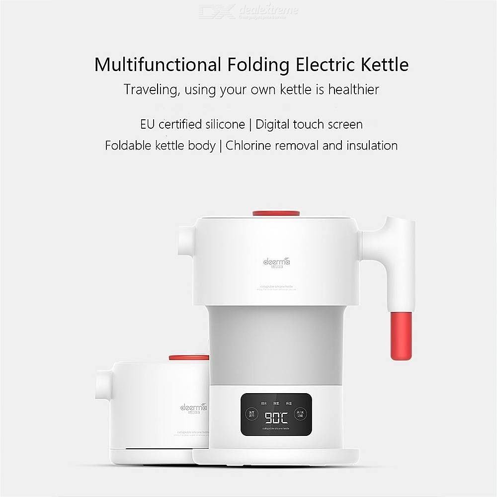 XIaomi Deerma Folding Electric Kettle Travel Portable Water Kettle 0.6L Temperature Display Smart Touch Control Pot - CN Plug