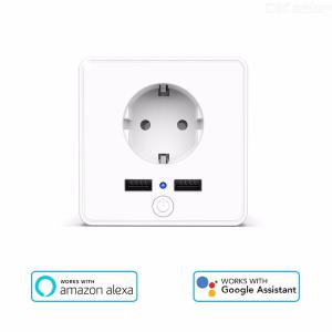 T16E 2000W Smart WiFi Wall Outlet EU Plug Socket Dual USB Charging Ports Power Monitor Work With Alexa Google Assistant
