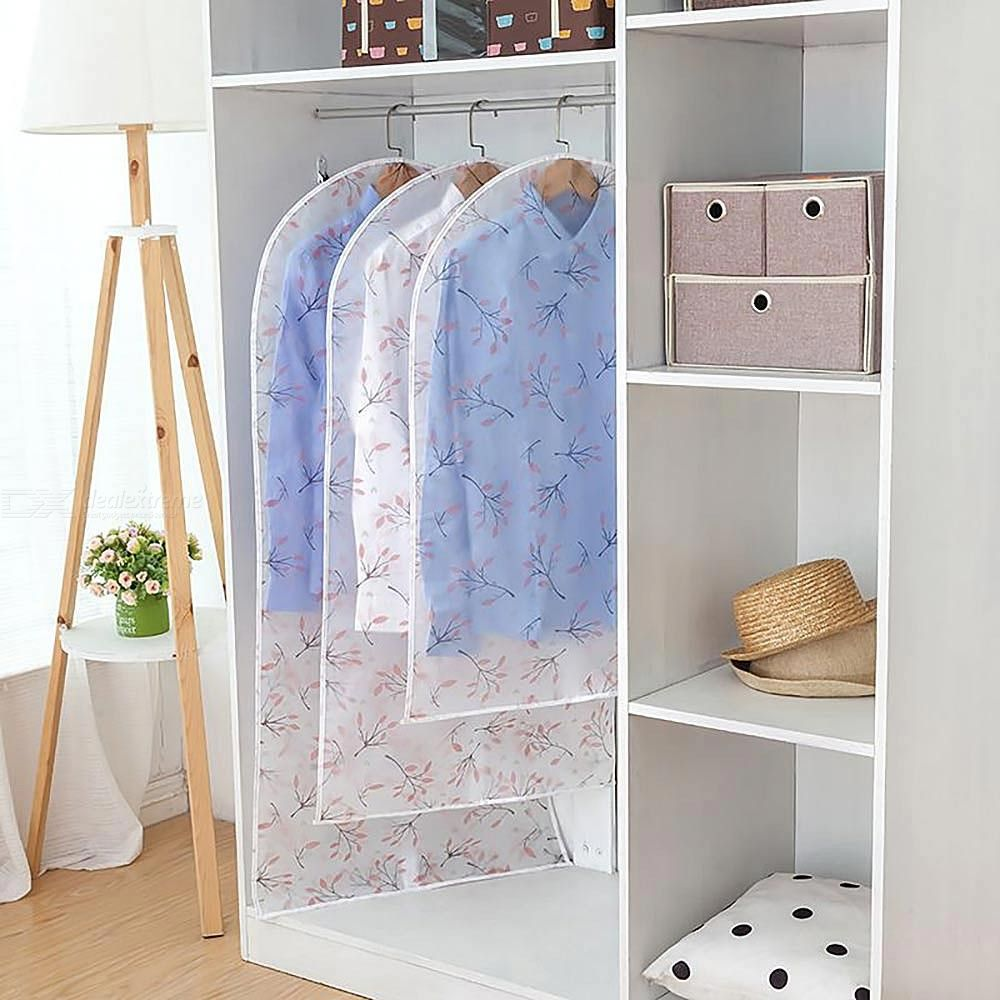Practical Clothing Dust Cover Waterproof Printing Hanging Coat Jacket Suit Protector For Home