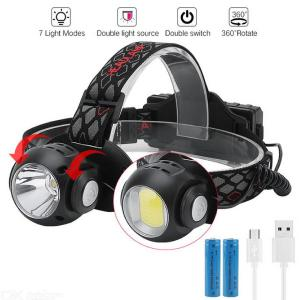 Super Bright Rechargeable USB LED Headlamp Outdoor T6 COB Waterproof 360 Degree Rotaing Headlight With 18650 Battery - Black