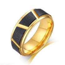 Mens-Black-Gold-Wedding-Bands-Ring-Stylish-Hip-Hop-Tungsten-Steel-Male-Boy-Finger-Ring-Gift