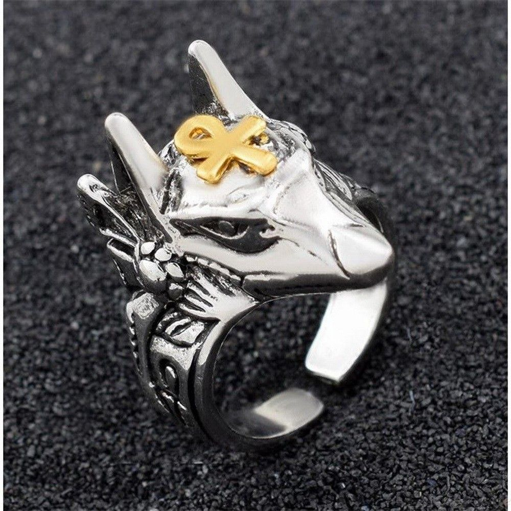 Punk Egypt Cross Anubis God Finger Ring For Men, Wolf Head Open Adjustable Ring Jewelry Gift