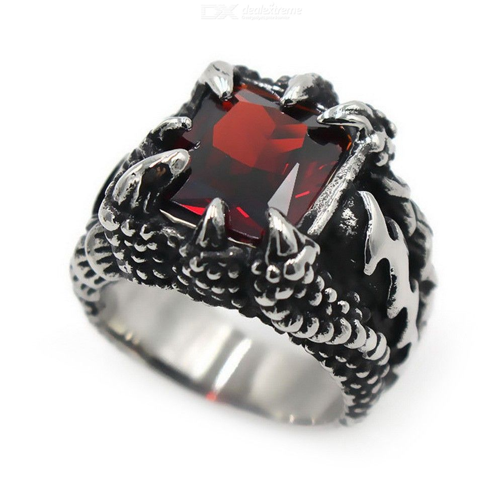 Vintage Cool Punk Style Titanium Steel Claws Ruby Men Finger Ring Jewelry